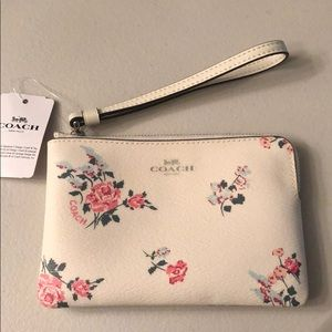 Coach Floral printed corner zip wristlet